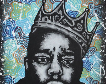 PRINTS - Illest - Notorious BIG Art Trippy Art Psychedelic Art Biggie Smalls Art Graffiti Art Christopher Wallace Black and White Modern Art