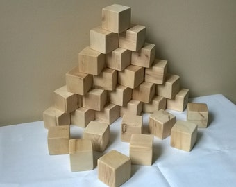 Set of 30 - 1.75 inch Unfinished toy Wooden Blocks / Building Blocks made from Cedar