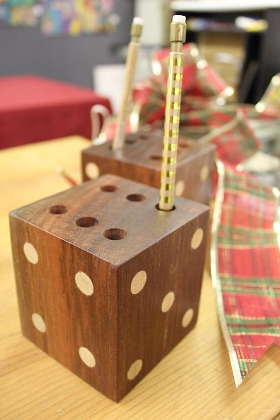 Desk Top Dice Wood Pencil or Ink Pen Holder by ThoughtfulCraftsman ...