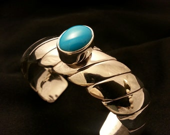 Southwestern contemporary design sterling silver cuff bracelet sleeping beauty  turquoise
