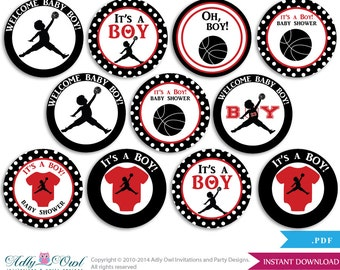 Boy Basketball Cupcake Toppers for Baby Shower Printable DIY, favor tags, circles, It's a Boy, Air Jordan - ONLY digital file - aa14bs0