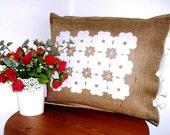Romantic Pillow - Rustic Pillow - Jute Pillow - Cotton Pillow -Traditional Pillow -Shabby Chic Pillow - Embroidered Pillow - Handmade Pillow