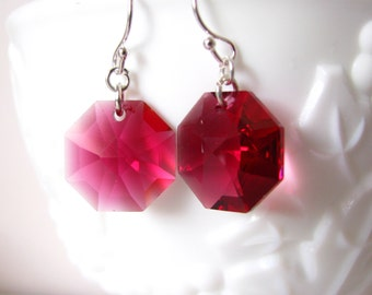 Raspberry Swarovski Crystal Drop Earrings Swarovski Dangle Earrings Handmade Jewelry Sterling Silver