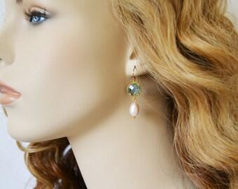 Aqua Crystal Dangle Earrings Pearl Drop Earrings Modern Elegant Design 14kt Gold Filled Earwires