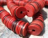 African Vinyl, 7 mm, Vulcanite Disc Beads, 300 Old Red & Black, African Vinyl Disc Beads,African Record Disc Beads