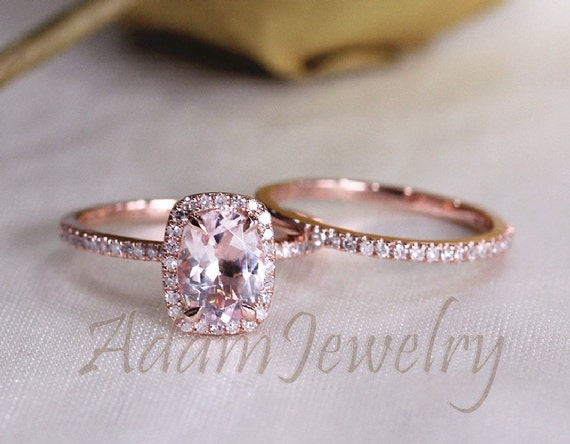 Two Ring Set 14K Rose Gold Oval VS 6x8mm Morganite by AdamJewelry
