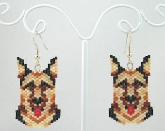Beaded German Shepherd Earrings