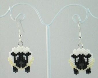 Beaded Sheep Earrings