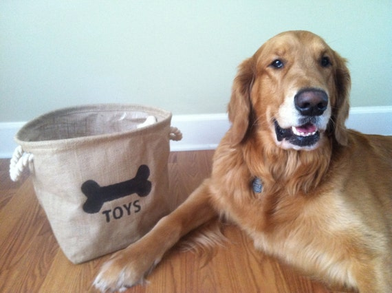 Dog Toy Organization Burlap Bin / Basket / Box with Hand Painted Bone Decoration