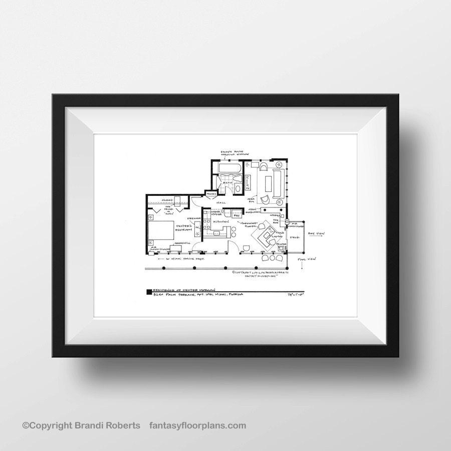 Dexter apartment poster tv show floor plan black line for 8240 palm terrace miami