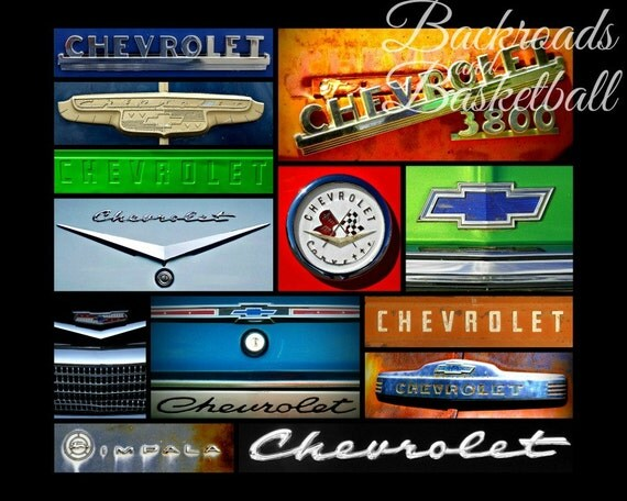 Chevrolet And Chevy Logos Collage Fine Art Home Decor Wall Art