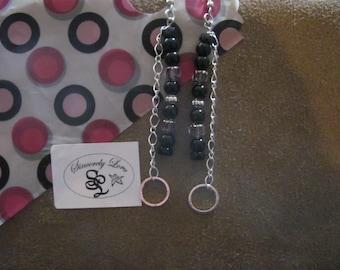 Black Onyx and Sheer Purple Beads Dangle Earrings