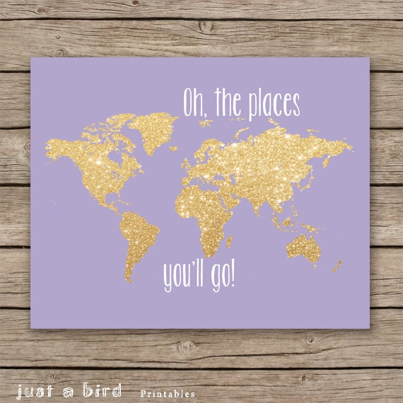 Oh the places you 39 ll go 8x10 gold glitter nursery decor for Places to get room decor