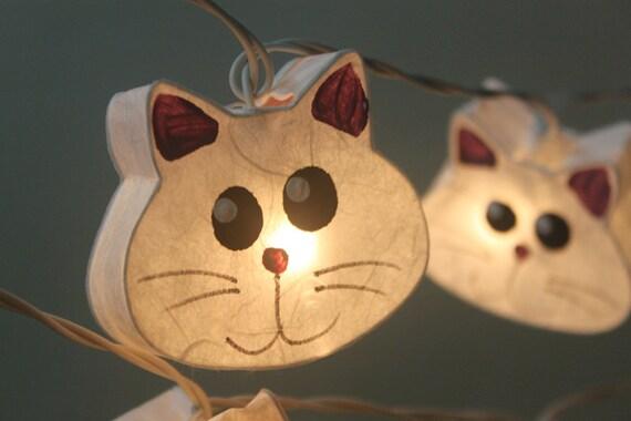 Kitten String Lights : 20 Cats LED Paper Lantern String Lights for Home