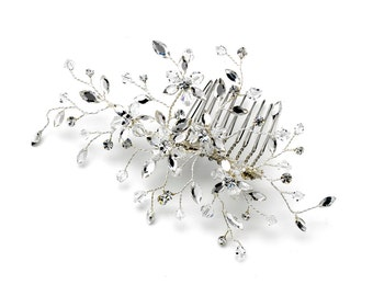 Flower Hair Comb with Sprigs of Swarovski Crystal Beads & Rhinestones