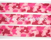 "PINK GIRLY CAMO Grosgrain Ribbon - 7/8"", 1.5""- 5 Yards - Oh My Gosh Goodies Ribbon"