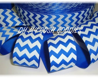 "ROYAL WHITE CHEVRON grosgrain ribbon -7/8"", 1.5"", 2 1/4"", 3"" widths - 5 Yards - Oh My Gosh Goodies Ribbon"