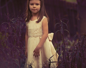 "The ""Adaliz Dress"",  Couture  Flower Girl Dress, Special Occasion Dress, Alencon Lace,"
