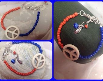 Denver bronco colored peace sign beaded bracelet.