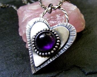 Silver Heart Amethyst pendant necklace Rustic silver heart