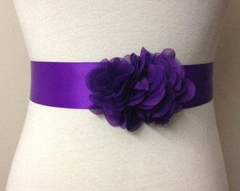Bridesmaid Sash-Purple Sash-Bride Sash-Dress Sash-Flower Sash-Bridal Sash Belt-Wedding Sash-Plain Sash-Ruffle Chiffon Flower Sash