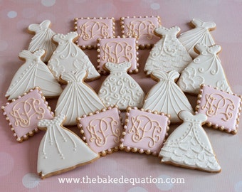 Bridal Gowns and Monogram Designed Sugar Cookies