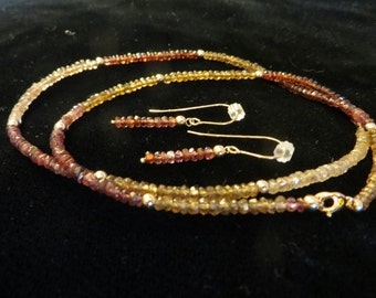Spinel necklace and earrings set.