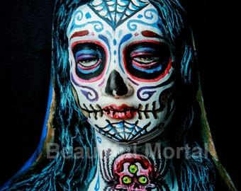 Beautiful Mortal Dia De Los Muertos Tattooed Mary Canon PRINT 392 Reproduction by Michael Brown