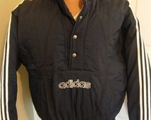Incredible Adidas Trefoil Logo Thick Thermal Insulated Winter / Ski Blue Jacket - Size Medium