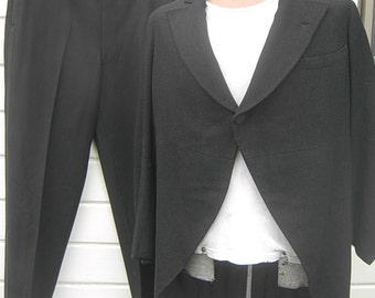 Size L (42R) ** Attractive Dated 1937 Charcoal Heavy Wool Tuxedo Tails