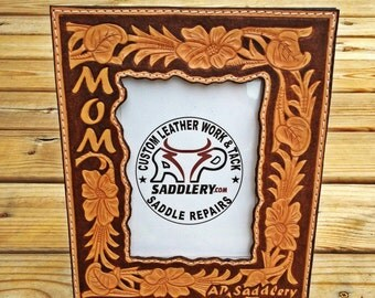 Custom Handtooled Leather Picture Frame