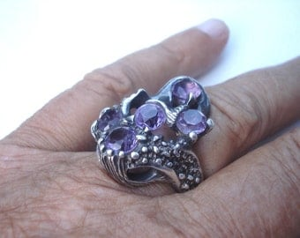Vintage Mexican Jewelry Ameythst Ring Taxco Mexico TT-12 Signed 02475