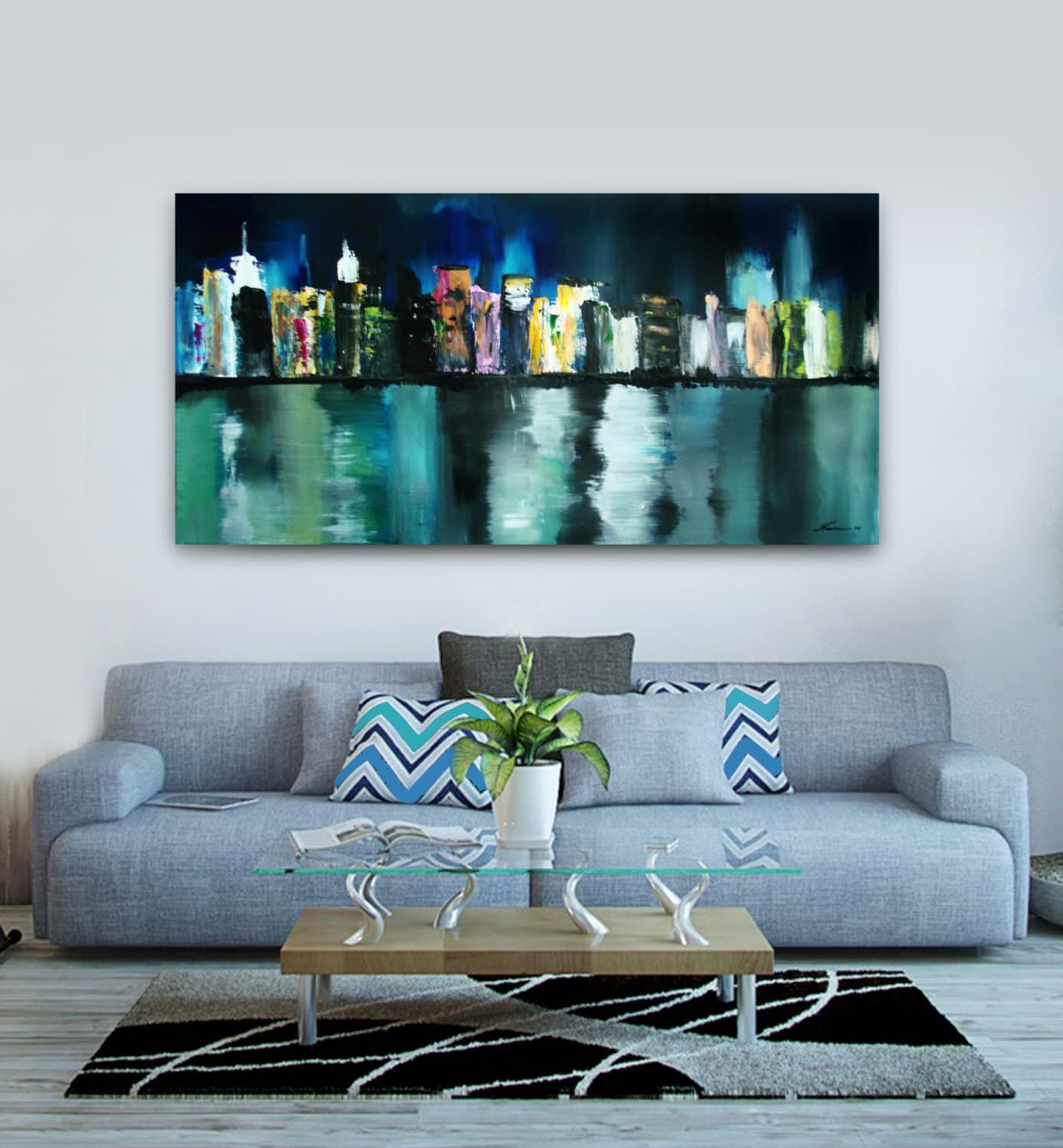 New york city skyline painting abstract city painting nyc for New york skyline painting