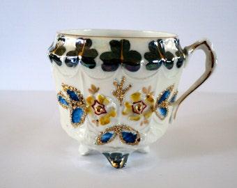 Antique Shamrock Embossed Footed Teacup