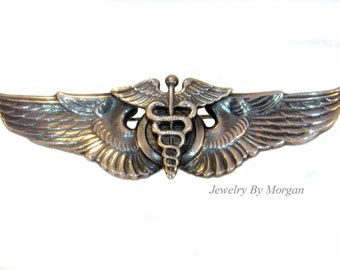 1940's U.S Sterling Silver Army Medic Wings Pin