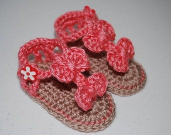 Strawberry Pink Crochet Baby Bow Sandals/Photography Prop/Baby Shower Gift/Choose Size