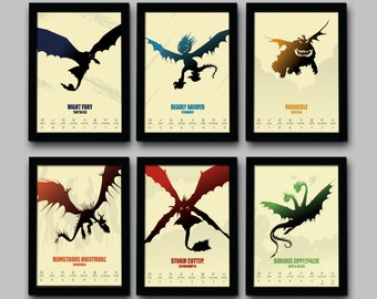 How To Train Your Dragon Inspired Minimalist Movie Poster Set - Hiccup Version - 6 Prints - 8.5 X 11 - Home Decor