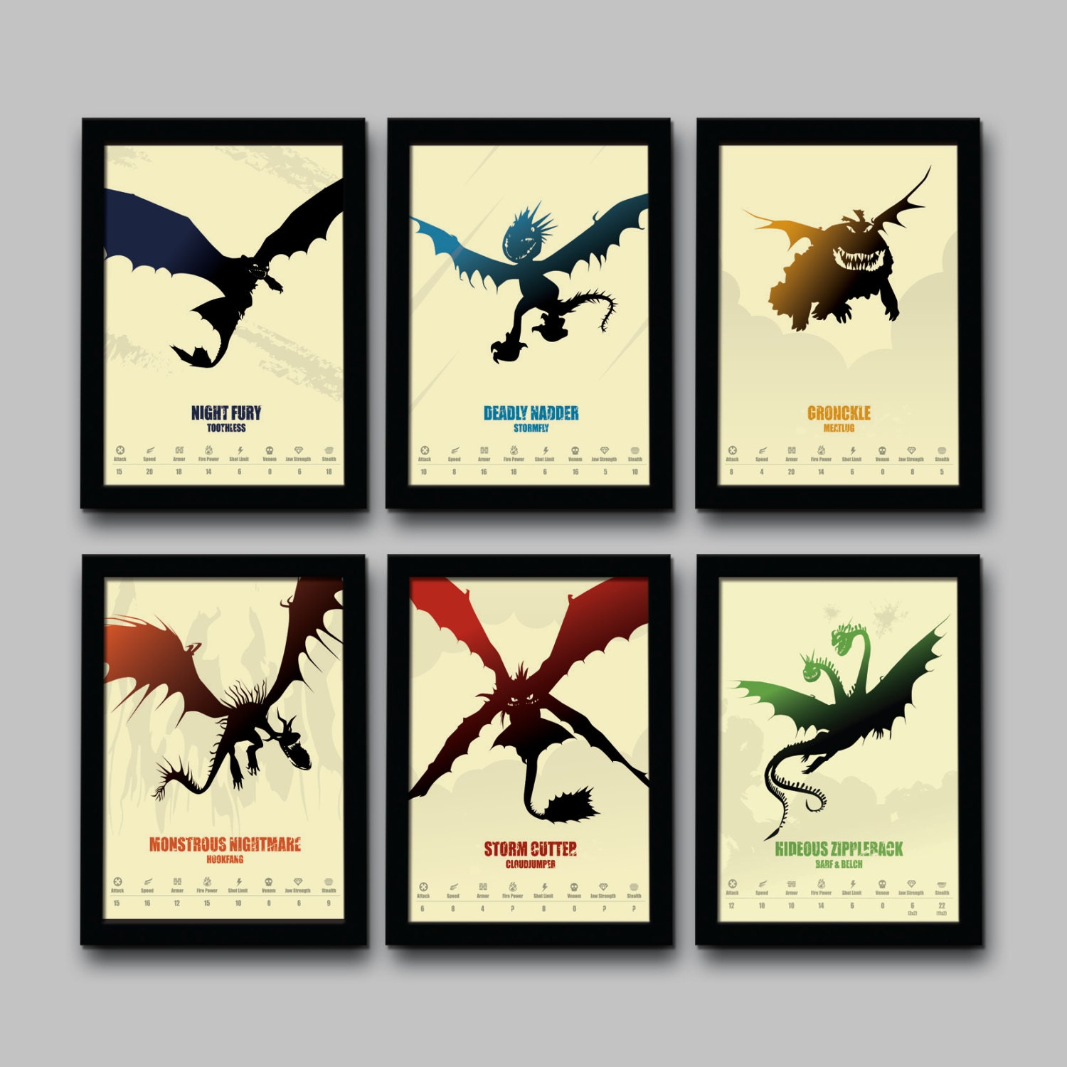 zoom. How To Train Your Dragon Inspired Minimalist Movie Poster Set