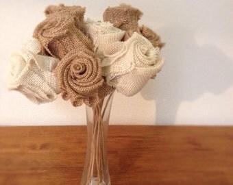 One Dozen Burlap Roses with Stem