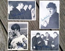 Vintage The Beatles Collectable Trading Cards with Printed Signatures, Collection of 4 Cards, 1964