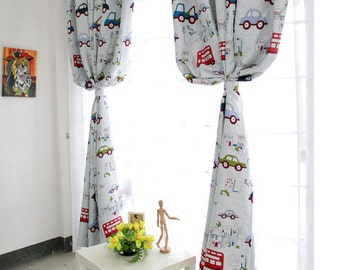 A Pair of Custom Curtain Panels Made to Order. Triple Woven Fabric. 70-80% Light Blocking. Cartoon Car Print Kid's Room Baby Nursery Curtain