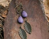 Purple Bronze Feather Earrings, Tribal long Earrings, Boho Drop Earrings,  Lavender Gold Etched Teardrop charm , Rustic Modern Jewelry