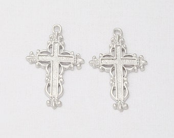 Antique Cross Pendant Matte Rhodium-Plated - 2 Pieces<AA0037-MR>