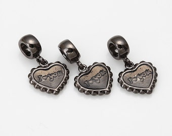 Heart  Charcoal Epoxy Pendant Polished GunMetal-Plated - 2Pieces [P0357-GMCC]