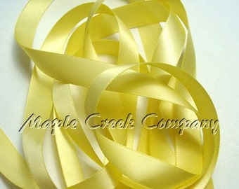 "5 yards Light Yellow (Maize) Double Face Satin Ribbon, 5 Widths Available: 1-1/2"", 7/8"", 5/8"", 3/8"", 1/4"""