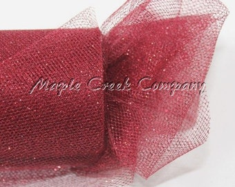 BURGUNDY WINE Glitter Tulle Roll 6in x 30ft - Sparkling Tulle (10 yards)