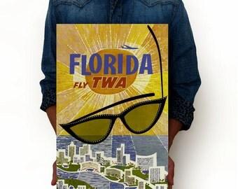 "Florida Vintage Poster, Fly TWA, Miami Poster Art Print, Art Posters, Minimalist Art 13"" x 19"""