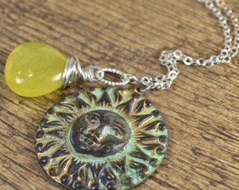 Sun Necklace, Sunshine Necklace, Yellow Pendant, Jade Pendant, Brass Pendant, Sterling Silver Necklace, Wire Wrapped Necklace