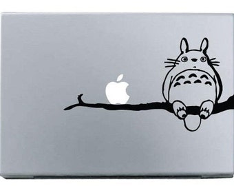 Laptop decal – Laptop Sticker – Macbook Pro decal – Macbook Air decal – Car window – Hipster - Totoro on branch