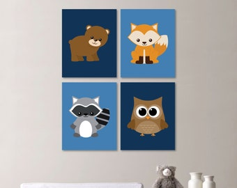 Baby Boy Nursery Art - Woodland Nursery Decor - Woodland Nursery Art - Nursery Decor - Nursery Print - Woodland Bedroom Animals (NS-567)